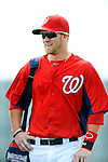 25 February 2012: Washington Nationals' outfielder Bryce Harper walks back to the dugout after the first full squad Spring Training workout at the Carl Barger Baseball Complex in Viera, Florida. Mandatory Credit: Ed Wolfstein Photo