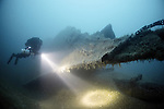 Diver on the wreck of the clipper ship, Smyrna, which lies in over 55 metres of water in the English Channel