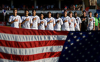 The United States lines up during the national anthem during the group stage of the CONCACAF Men's Under 17 Championship at Jarrett Park in Montego Bay, Jamaica. The USA defeated Panama, 1-0.