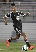BOYDS, MARYLAND-JULY 07,2012:  Lianne Sanderson (10) of DC United Women scord the first goal against the Dayton Dutch Lions during a W League game at Maryland Soccerplex, in Boyds, Maryland. DC United women won 4-1.