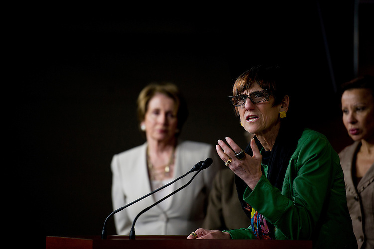 UNITED STATES - May 15: Democratic Leader Nancy Pelosi, D-CA., and Rep. Rosa Delauro, D-CT., during a press conference on protections in Affordable Care Act for women and children on May 15, 2013. (Photo By Douglas Graham/CQ Roll Call)