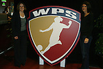 29 March 2009: Mia Hamm (right) poses with the WPS logo, which features her likeness, and WPS Commissioner Tonya Antonucci (left). Los Angeles Sol defeated the Washington Freedom 2-0 at the Home Depot Center in Carson, California in a regular season Women's Professional Soccer game. The game was the WPS Inaugural game.