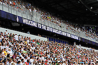Welcome to the 2010 Barclays New York Challenge sign. Tottenham Hotspur F. C. and Sporting Clube de Portugal played to a 2-2 tie during a Barclays New York Challenge match at Red Bull Arena in Harrison, NJ, on July 25, 2010.