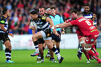 Jeff Williams of Bath Rugby takes on the Scarlets defence. Pre-season friendly match, between the Scarlets and Bath Rugby on August 20, 2016 at Eirias Park in Colwyn Bay, Wales. Photo by: Patrick Khachfe / Onside Images