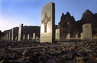 A British military graveyard at Silent Valley in the desert outside Aden, the former colonial capital in Yemen. Political resistance and armed struggle against British rule coupled with growing international pressure led the British to withdraw from Aden in 1967. During the final months of occupation it became too dangerous to bury victims of the fighting in Aden itself where graveyards were overlooked by sniper positions, and 135 British people were buried in Silent Valley.