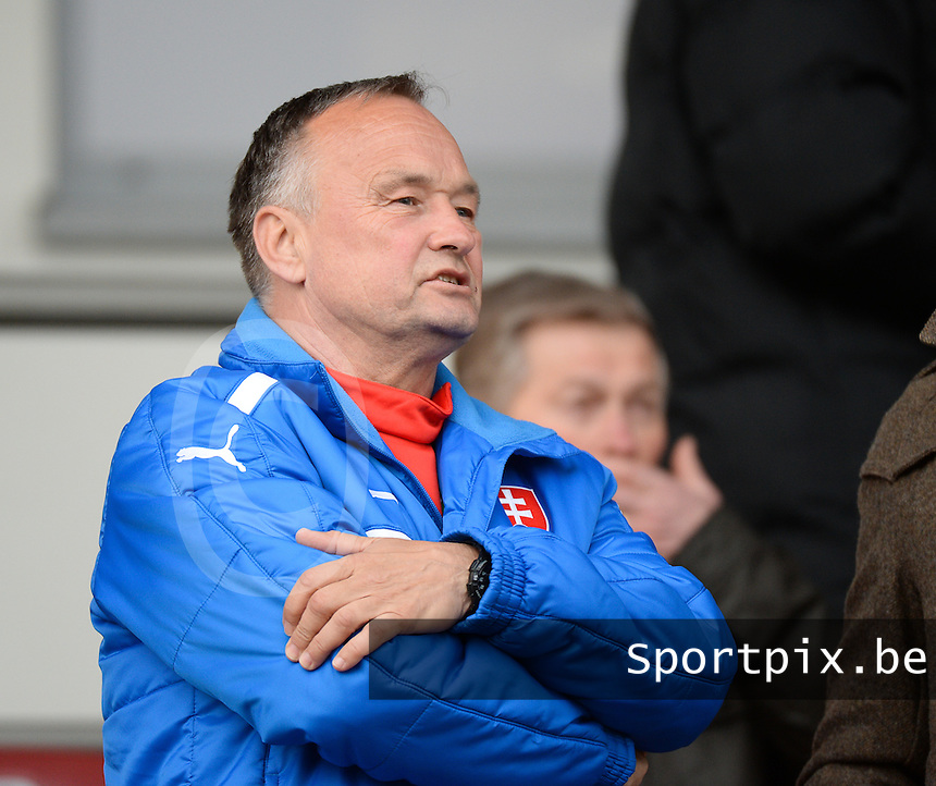 20150321 - Wetzlar , GERMANY  : Slovakian coach Ladislav Hudec pictured watching the soccer match between Under 17 teams of Italy and Ukraine , on the first matchday in group 8 of the UEFA Elite Round Under 17 at Stadion Wetzlar , Wetzlar Germany . saturday 21 th March 2015 . PHOTO DAVID CATRY
