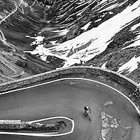 Looking down on the Passo dello Stelvio, Italy.