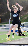 SEYMOUR CT. 18 April 2017-041817SV08-Laura Trombetta of Oxford High competes in the long jump during NVL track action at Seymour High in Seymour Tuesday.<br /> Steven Valenti Republican-American