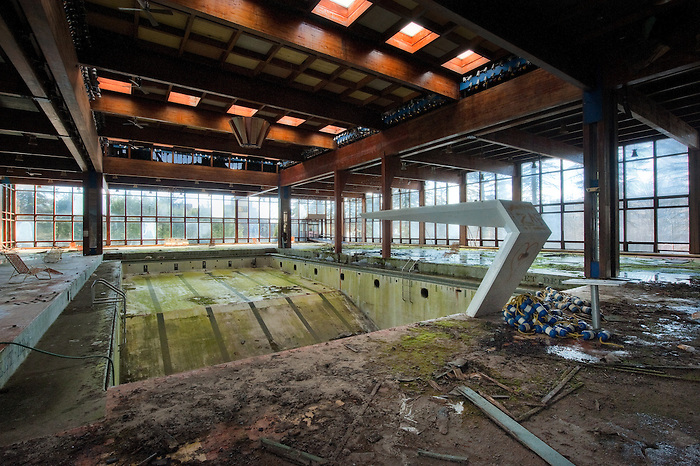The Diving Board and Pool of a Deserted Resort in the Catskill's of New York