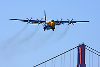 The C-130 Hercules affectionately known as Fat Albert passes in front of the Golden Gate Bridge as part of its flight demonstration during the 2008 San Francisco Fleet Week activities. Serving as the support aircraft for the U.S. Navy Blue Angels the Marine crewed aircraft often proceeds the Navy's flight demonstration at air shows around the world as well as serving as the team's support aircraft.