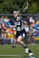 Yale University attacker Devon Rhodes (16). Boston College defeated Yale University, 16-5, at Newton Campus Field, April 28, 2012.