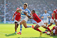 Nicolas Sanchez of Argentina takes on the Tonga defence. Rugby World Cup Pool C match between Argentina and Tonga on October 4, 2015 at Leicester City Stadium in Leicester, England. Photo by: Patrick Khachfe / Onside Images