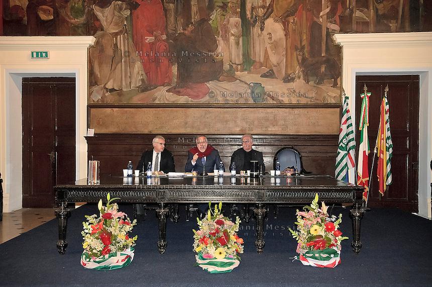 Palermo: campagna elettorale per le politiche 2013, il ministro Andrea Riccardi e Raffaele Bonanni segretario della Cisl..Palermo: electoral campaign for the 2013 policy, the Minister Andrea Riccardi  and Raffaele Bonanni