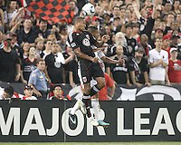 Jordan Graye #16 of D.C. United wins a header aginst Sean Franklin #28 of the Los Angeles Galaxy during an MLS match at RFK Stadium on July 18 2010, in Washington D.C. Galaxy won 2-1.