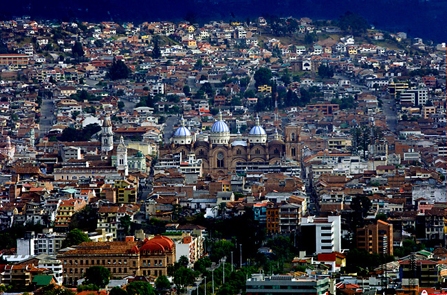 The Mirador de Turi provides a grand view of Cuenca, Ecuador and the sky blue domes of the Cathedral of the Immaculate Conception.  The city center is a UNESCO World Cultural Heritage Site.