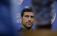 Novak Djokovic Speaks with members of the media during the 2015 U.S. Open tournament kids day in New York City 08/29/2015. Kena Betancur/VIEWpress