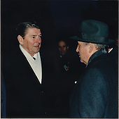 """United States President Ronald Reagan presented this photograph to President Mikhail Sergeyevich Gorbachev of the Soviet Union in New York on Wednesday, December 7, 1988.  The photograph was taken in Geneva, Switzerland on Tuesday, November 19, 1985, during the first summit.  The photograph was inscribed, """"We have walked a long way together to clear a path for peace,"""" and was signed Ronald Reagan.  Underneath the signiture was a line that said, """"Geneva 1985 ---- New York 1988"""".  President Reagan gave the photograph to President Gorbachev during their meeting..Mandatory Credit: Terry Arthur - White House via CNP"""