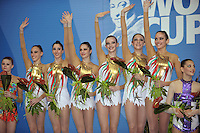 Italian rhythmic group waves to fans after winning gold in All Around at 2009 Pesaro World Cup on May 1, 2009 at Pesaro, Italy.  Photo by Tom Theobald.Note: (L-R) Romina Laurito, Elisa Blanchi, Daniela Masseroni, Anzhelika Savrayuk, Giulia  Galtarossa, Elisa Santoni.