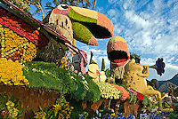 "La Canada Flintridge ""Rainforest Fiesta"" float Los Angeles California Rose Parade Tournament of Roses Parade Pasadena CA High dynamic range imaging (HDRI or HDR)"