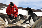 Researcher at Penguin colony, Cape Crozier, Antarctica.