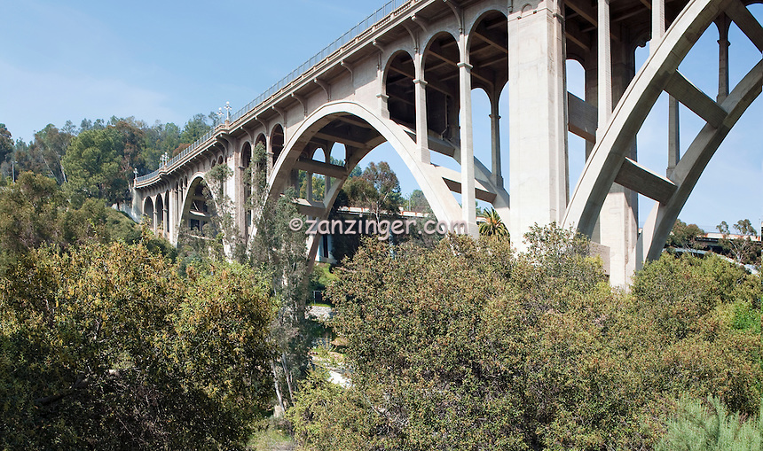 Pasadena, CA, Colorado, Street, Bridge, historic, concrete, arch, bridge, Vertical Panorama