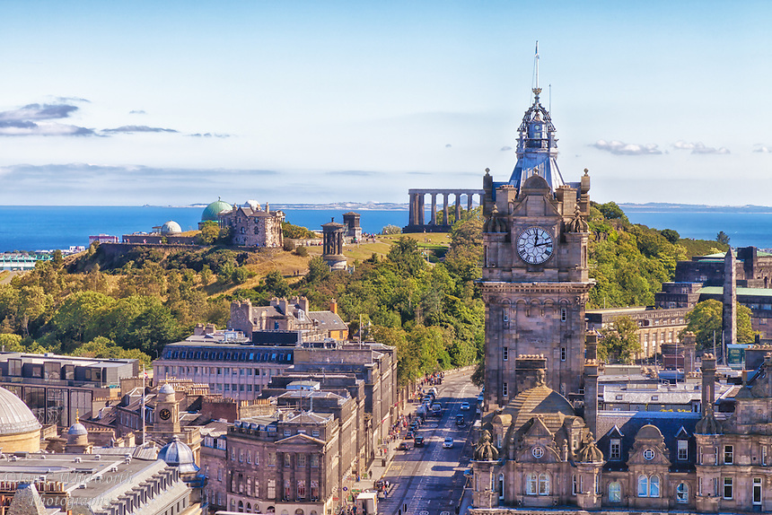 A view of Calton Hill from the Scott Monument in Edinburgh.