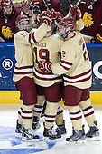 The Eagles celebrate Wey's goal. - The Boston College Eagles defeated the University of Minnesota Duluth Bulldogs 4-0 to win the NCAA Northeast Regional on Sunday, March 25, 2012, at the DCU Center in Worcester, Massachusetts.