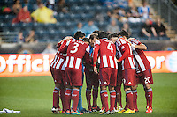 CD Chivas USA  huddles before the match. The Philadelphia Union defeated the CD Chivas USA 3-1 during a Major League Soccer (MLS) match at PPL Park in Chester, PA, on July 12, 2013.