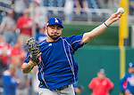 7 October 2016: Los Angeles Dodgers first baseman Adrian Gonzalez warms up prior to the first game of the NLDS against the Washington Nationals at Nationals Park in Washington, DC. The Dodgers edged out the Nationals 4-3 to take the opening game of their best-of-five series. Mandatory Credit: Ed Wolfstein Photo *** RAW (NEF) Image File Available ***