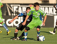 Nathan Sturgis of Sounders in action during the game against the Earthquakes at Buck Shaw Stadium in Santa Clara, California on July 31st, 2010.   Seattle Sounders defeated San Jose Earthquakes, 1-0.