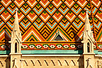 Tiled roof of Church of Our Lady or Matthias Church ( M&aacute;ty&aacute;s templom), Castle District, Budapest Hungary