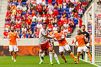 Tim Cahill (17) of the New York Red Bulls goes for the ball. The New York Red Bulls defeated the Houston Dynamo 2-0 during a Major League Soccer (MLS) match at Red Bull Arena in Harrison, NJ, on June 30, 2013.