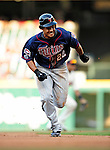 5 September 2009: Minnesota Twins' center fielder Carlos Gomez in action against the Cleveland Indians at Progressive Field in Cleveland, Ohio. The Twins defeated the Indians 4-1 in the second game of their three-game weekend series. Mandatory Credit: Ed Wolfstein Photo