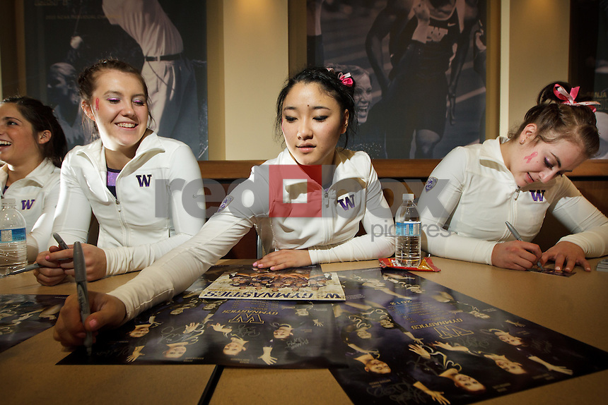 Amanda Cline, Hatsune Akaogi, Aliza Viccars..----Washington Huskies gymnastics tri-meet vs Louisiana State University and Seattle Pacific University at Alaska Airlines Arena at Hec Edmundson Pavilion in Seattle on Friday, February 17, 2012. (Photo by Dan DeLong/Red Box Pictures)