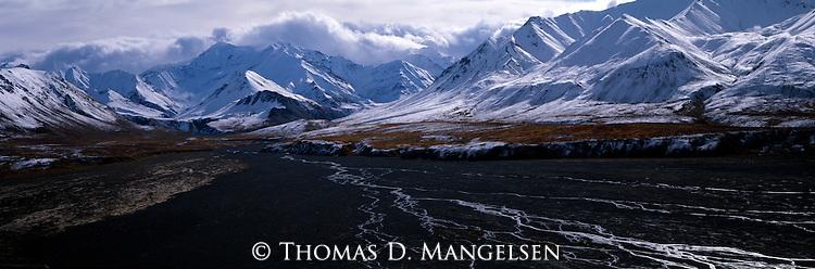 Snow covered peaks in Denali National Park, Alaska.