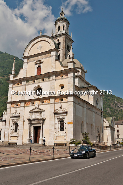 Basilica della Madonna di Tirano church facade; the church is dedicated to the appearance of the Virgn to Mario Degli Omodei in 1504 and located in Tirano, Italy