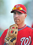 12 March 2012: Washington Nationals first baseman Adam LaRoche returns to the dugout during a Spring Training game against the St. Louis Cardinals at Space Coast Stadium in Viera, Florida. The Nationals defeated the Cardinals 8-4 in Grapefruit League play. Mandatory Credit: Ed Wolfstein Photo