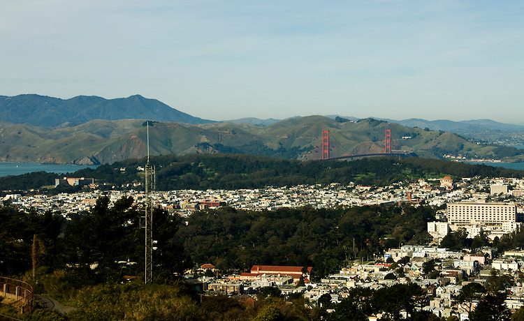 California, San Francisco: View looking north from Twin Peaks to the Golden Gate Park, Golden Gate Bridge, and Marin County..Photo #: 11-casanf77501.Photo © Lee Foster 2008