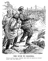 """The Rush to Salonika. Wilhelm and Franz Joseph. """"Ferdie, the post of honour is yours."""" Ferdie. """"You can have it."""" (Ferdinand I of Bulgaria refuses to go first into battle as Wilhelm II pushes him while Salonika is heavily defended with barbed wire and a fearful Franz Joseph I of Austria looks on during WW1)"""