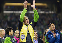 Seattle Sounders FC goalkeeper Kasey Keller acknowledges fans after play against the San Jose Earthquakes at CenturyLink Field in Seattle Saturday October 15, 2011. The Sounders FC won the game 2-1. The game was Keller's last regular season home game.