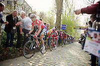 Jurgen Roelandts (BEL/Lotto-Belisol) up the Taaienberg with Luca Paolini (ITA/Katusha) right behind him<br /> <br /> 57th E3 Harelbeke 2014