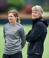 Pia Sundhage, Hege Riise. The USWNT practice at WakeMed Soccer Park in preparation for their game with Japan.