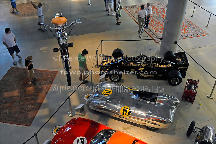 17-19  July, 2009, Birmingham, Alabama USA.More Lotus cars and a hanging motorcycle, Barber Vintage Motorsports Museum.©2009 F.Peirce Williams, USA.