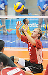 November 18 2011 - Guadalajara, Mexico:  Austin Hinchey of Team Canada while taking on Columbia in the Bronze Medal Game in the Pan American Volleyball Complex at the 2011 Parapan American Games in Guadalajara, Mexico.  Photos: Matthew Murnaghan/Canadian Paralympic Committee