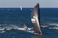 BRAZIL, Itajai. 6th April 2012. Volvo Ocean Race, Leg 5, Auckland-Itajai. Leg leaders Puma powered by BERG followed by Telefonica.