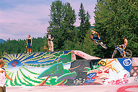 Whistler, BC, British Columbia, Canada - Skateboarders skateboarding, and Cyclists cycling, in Painted Skate Board Park, Summer