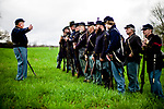 Woodbury, CT- 22 April 2017-042217CM02- Randy Pesut of Terryville leads drill exercises with the 2nd Second Connecticut Regiment of Volunteers Heavy Artillery  in Woodbury on Saturday.  The company set up camp, squared away their uniforms and practiced marching.  The group will take part in two reenactments in May, including the Battle of New Market in New Market, VA.  Christopher Massa Republican-American