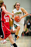4 January 2010: University of Vermont Catamounts' guard May Kotsopoulos, a Senior from Waterloo, Ontario, in action against the University of Nebraska Cornhuskers at Patrick Gymnasium in Burlington, Vermont. The Huskers, finishing off their first perfect non-conference season in school history, improved to 13-0 with the 94-50 win over the Lady Cats. Mandatory Credit: Ed Wolfstein Photo