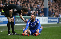 Referee Darren England checks on Cardiff City's Ashley Richards<br /> <br /> Photographer /Rob NewellCameraSport<br /> <br /> The EFL Sky Bet Championship - Queens Park Rangers v Cardiff City - Saturday 4th March 2017 - Loftus Road - London<br /> <br /> World Copyright &copy; 2017 CameraSport. All rights reserved. 43 Linden Ave. Countesthorpe. Leicester. England. LE8 5PG - Tel: +44 (0) 116 277 4147 - admin@camerasport.com - www.camerasport.com