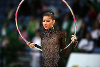 Byliana Prodanova of Bulgaria performs with hoop at 2009 World Cup at Portimao, Portugal on April 17, 2009.  (Photo by Tom Theobald).